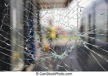 Broken glass - Glass broken cracks splinters in front of the...