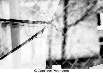 Broken Glass Grayscale - Sharp glass hole cracks splinters,...