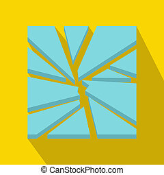 Broken glass icon, flat style