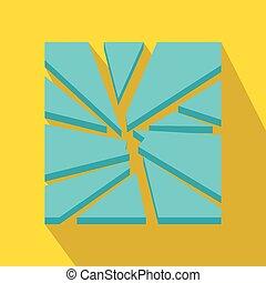Broken glass icon, flat style - Broken glass icon in flat...