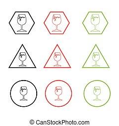 Broken glass icon. Vector danger warning sign, line icon