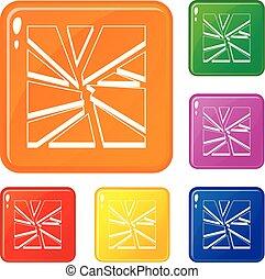 Broken glass icons set vector color