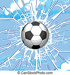 broken glass - Soccer ball and a crack on the glass.