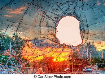 broken glass in hdr