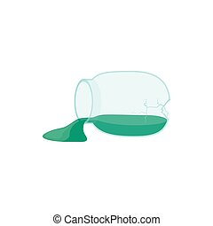 Broken glass jar icon, cartoon style