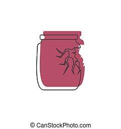 Broken glass jar icon, doodle style