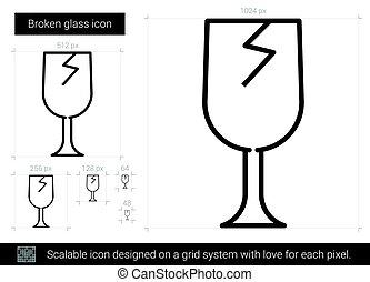 Broken glass line icon.