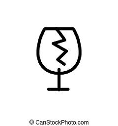 broken glass line icon vector illustration Isolated On white...