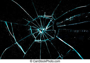 broken glass on a black background