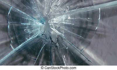 Broken glass on large pieces. Close up - Broken glass on...