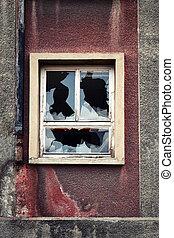 broken glass on the window