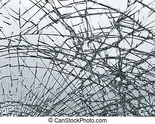 Broken glass - smashed window glass close-up