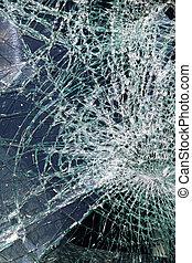 Shattered glass broken windscreen in traffic accident