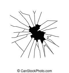 Broken glass silhouette