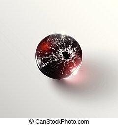 Broken glass sphere, vector
