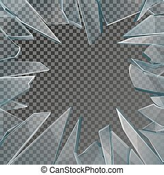 Broken glass window frame vector