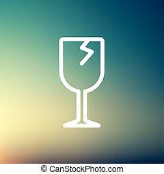Broken glass wine thin line icon