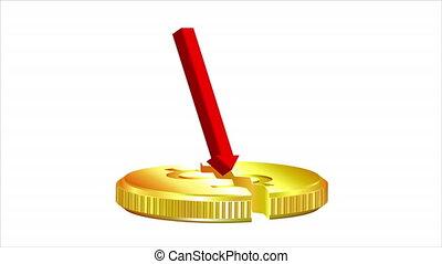 Broken gold coin in crisis, art video illustration.