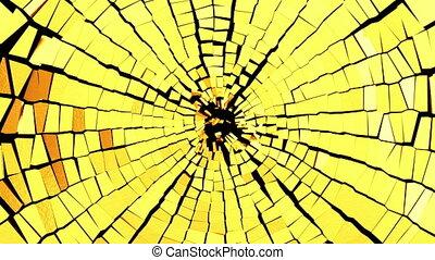 Broken golden glass: destruction