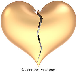 Broken golden heart shape classic