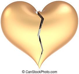 Broken golden heart shape classic