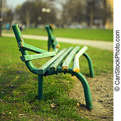 broken green bench