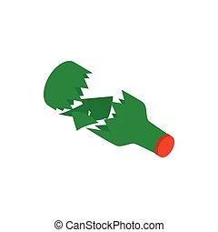 Broken green bottle icon, isometric 3d style