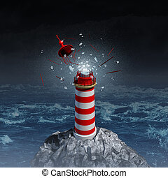Broken guidance and direction uncertainty with a broken shattered lantern beacon from a lighthouse as a metaphor for losing control resulting in misdirection and going the wrong way in life and business.
