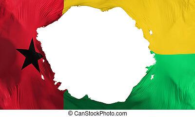 Broken Guinea Bissau flag, white background, 3d rendering