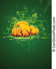 broken halloween pumpkin on grunge background