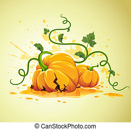 broken halloween pumpkin on grunge background vector...