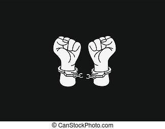 Broken handcuff Freedom concept, Hand Drawn Sketch Vector illustration.