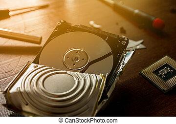 Broken hard drive - Broken and open computer or laptop hard...