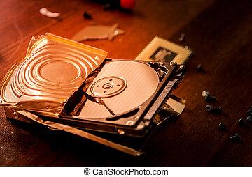 Broken hard drive - Broken and open computer or laptop hard ...