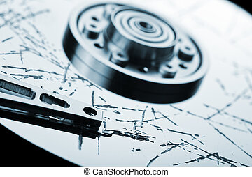 Broken hdd data loss - Information storage data loss concept...