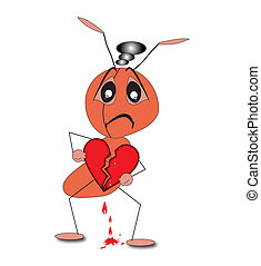 A depressed ant holding a broken heart