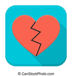 Broken heart app icon with long shadow