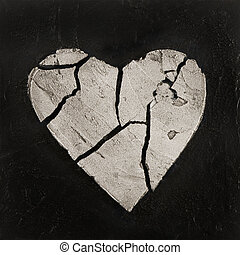 painting of broken heart, artwork is created and painted by myself