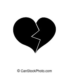 Broken heart. Black icon on white background.