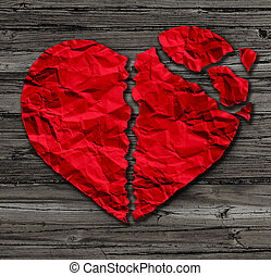 Broken Heart - Broken heart breakup concept as a separation...