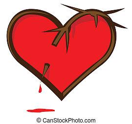 broken heart - Broken Heart. Heart pierced vine. Bloody...