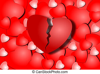 Broken heart - Background illustration of a group of red...