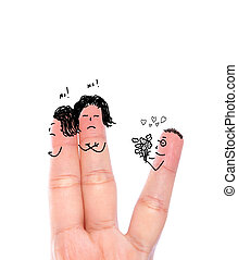 Broken heart concept painted on human fingers ( Two women...