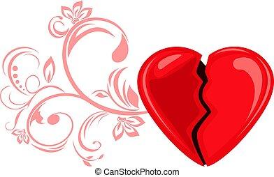 Broken heart. Decorative element for design isolated on white