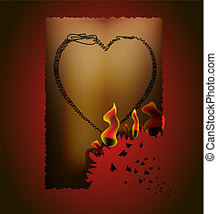 broken heart - on a dark-red background, the brownish paper...