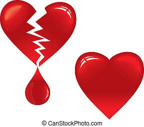 Broken Heart - Vector Heart and Broken Heart