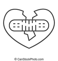 Broken heart fix thin line icon, valentine day concept, two half heart glued with plaster together sign on white background, recovery relationship icon in outline style. Vector graphics.