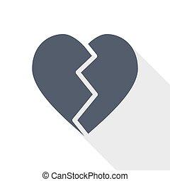 Broken heart flat design vector icon