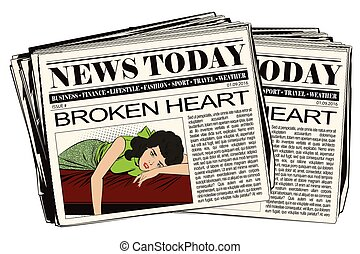 Broken heart. Girl lies on bed and crying.