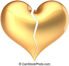 Broken heart golden. Love loser - Heart shape broken colored...